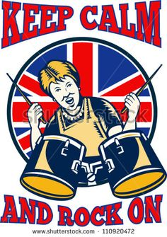"Retro illustration of a british granny queen playing drums with union jack flag set inside shield with words ""keep calm and rock on"". - stock vector #drums #retro #illustration"