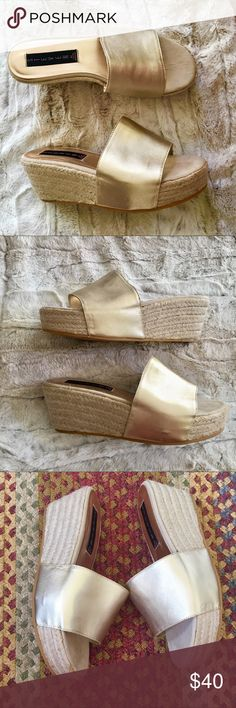 Steve Madden Espadrilles Mule Wedges Steven by Steve Madden Espadrilles Mule Wedges, Size 7. Color is a metallic, light gold. A few minor scuffs but otherwise good condition.  Bundle to Save! No trades or lowballs. Steve Madden Shoes Wedges