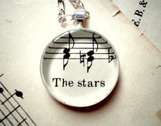 The Stars Sheet music necklace by ScrapHappyLyrebird $24 #vintage #fashion #jewelry http://www.etsy.com/listing/82940041/the-stars-sheet-music-necklace-sterling