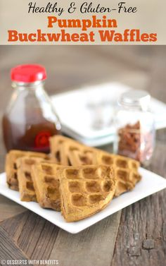 These sweet and crispy Healthy Pumpkin Buckwheat Waffles are so delicious, you'd never know they're low fat, high protein, gluten free, and vegan! Gluten Free Pumpkin, Vegan Pumpkin, Healthy Pumpkin, Pumpkin Recipes, Vegan Gluten Free, Dairy Free, Buckwheat Waffles, Buckwheat Recipes, Healthy Vegan Desserts