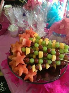 Fruit kabob wands look tasty and perfect for a princess party.