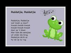 Paddatjie, Paddatjie - Kinderrympies in Afrikaans Kids Rhymes Songs, Songs For Toddlers, Rhymes For Kids, Rhyming Activities, Preschool Songs, Toddler Learning Activities, School Rhymes, Free Printable Alphabet Worksheets, Afrikaans Language