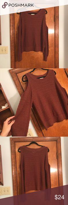La Hearts Women's Size Large Sweater! LA Hearts, pac sun, sweater, burnt orange color, crew neck, cut out shoulders, super cute and comfy!  Women's size large. La Hearts Sweaters Crew & Scoop Necks