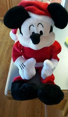 Disney Store Mickey Mouse Plush Small Santa Claus Holiday Christmas Shelf P2