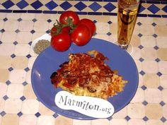 Gratin de pâtes au chorizo - Recette de cuisine Marmiton : une recette French Toast, Eggs, Beef, Chicken, Cooking, Breakfast, Recipes, Food, Provence