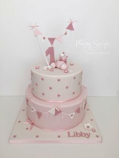 Gallery of work from The Pretty Sugar Cake Company 1st Birthday Cake For Girls, Baby Birthday Cakes, Girly Cakes, Baby Girl Cakes, Sugar Cake, Foto Baby, Love Cake, Baby Shower Cakes, Gallery