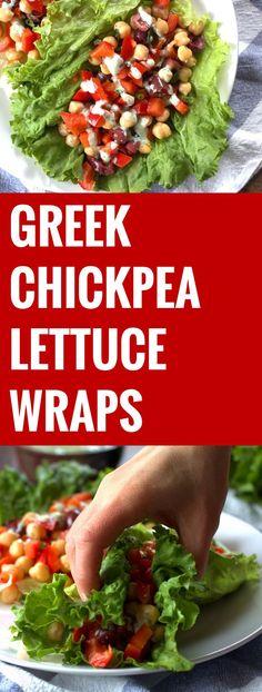 Greek Chickpea Lettuce Wraps