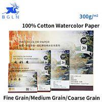Bgln 300g/m2 Profesional Acuarela Papel 20 Hojas Pintadas A Mano soluble en Agua Creativo Libro material escolar Oficina