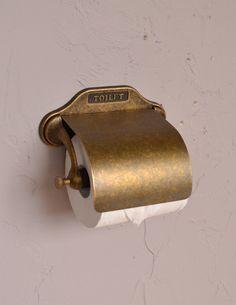 レトロなデザインの真鍮製ペーパーホルダー(アンティーク色) (sa-241)
