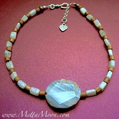 MettaMoon White Agate & Moonstone Choker $39 One of a Kind!