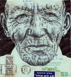 bic biro on 1960 envelope by mark powell bic biro drawings, via Biro Drawing, Biro Art, Drawing Faces, Mark Powell, Collages, Ebook Cover Design, Envelope Art, A Level Art, Portraits