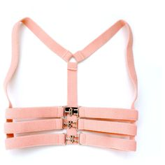 Pastel Pink Stretch Underbust Cage Harness - Silver buckles - S/M ($49) ❤ liked on Polyvore featuring accessories and harness