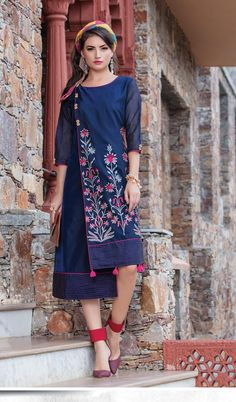 Shop readymade blue art silk partywear kurti , freeshipping all over the world , Item code Indian Party Wear, Lakme Fashion Week, Mode Hijab, Kurta Designs, Indian Designer Wear, Indian Dresses, Indian Outfits, Ladies Dress Design, Couture