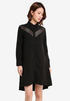 Lace Insert Shirt Dress