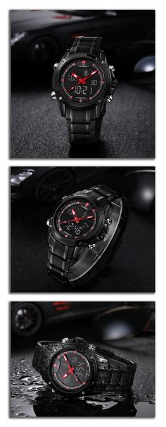 Men's LED sport army watch - Naviforce military steel watches - Men's fashion luxury brand style affordable accessories #menswatch #menswear #menstyle #affordablewatch