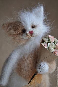 Купить РЫЖАЯ кошечка с букетом - белый, кошка, кот, котик, игрушка кот, игрушка котик