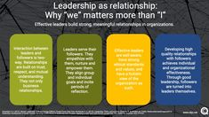 "In good leadership, the ""we"" matters more than the ""I"". Good leadership is like having a successful relationship. Leadership Theories, Servant Leadership, Successful Relationships, Management Tips, Insight, Knowledge, Learning, Business, Consciousness"