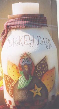 Turkey Day Candle Jar- with Free Pattern and Tutorial