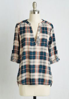 Even S'more to Love Top. A toasty campfire with sweet treats, the company of friends, and this plaid blouse - what an excellent equation for the perfect night! #blue #modcloth