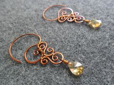 HENNA FLOWER Copper earring with gold crystals - copper jewelry - wire jewelry