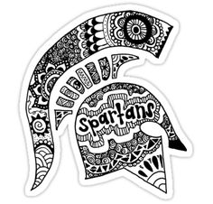 """Michigan State Spartan Helmet Zentangle"" Stickers by alexavec | Redbubble"