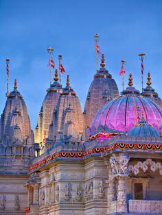 London, Neasden, Shri Swaminarayan Mandir Temple Illuminated for Hindu Festival of Diwali