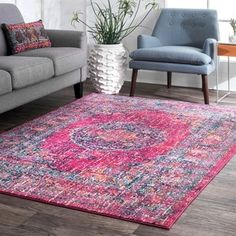 nuLOOM Persian Traditional Medallion Fuchsia Rug (9' x 12') - Free Shipping Today - Overstock.com - 20088839