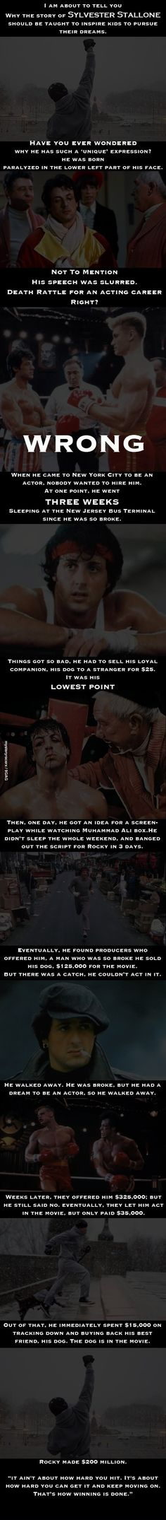 Sylvester Stallone's story - Pretty amazing!