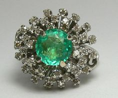 Outsanding Natural Colombian Emerald And Diamond Ring. $4,900.00, via Etsy.