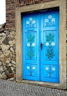 beautiful double blue doors