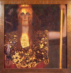 """Gustave Klimt (1862-1918)  Pallas Athene  Oil on canvas  1898  75 x 75 cm  (29.53"""" x 29.53"""")  Historisches Museum der Stadt Wien (Vienna, Austria)"""