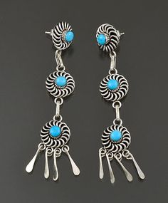 Silver & Turquoise Earrings by Al Lementino (Zuni)