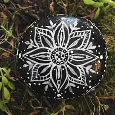 Hand Painted Bohemian Black and White Mandala Stone by EmmysHeartsnCrafts on Etsy