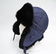 Child Real Fur Hat, Aviator Hat, Ushanka, Russian Hat, Ski Hat,  Rabbit Fur, Fur Hat with Ear Flaps, Warm Hat, Childs Fur Hat, Trapper Hat Rabbit Fur Hat, Russian Hat, Fur Hats, Aviator Hat, Trapper Hats, Navy Blue Color, Boy Or Girl, Knitted Hats, Winter Jackets