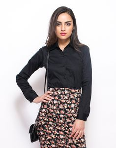 Crisp Black Cotton Shirt : Up your chic game with this crisp cotton shirt in the classiest black hue featuring a classic collar with a full front button down style. Regular fit.  Work It - Looks chic paired with a printed pencil skirt and black block heel sandals.