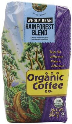 Grocery-The Organic Coffee Company Whole Bean Coffee, Rainforest Blend, 12 Ounce…