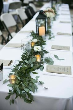 Beautiful, easy, long garland centerpiece - sage green color