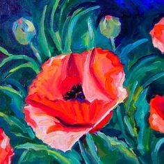Sarah's Poppies 8x8 oil on canvas $115, painting by artist Elizabeth Fraser