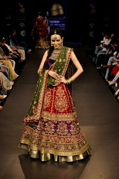 Red, green, purple lengha