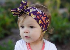 Tribal Headwrap - One Size Fits All - Dark Purple, Orange, and Yellow Geometric Vintage Style Headwrap - Infant to Adult - Knot, Headscarf, headband