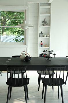 Dining table & Poul Henningsen lights by kitka.ca, via Flickr