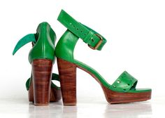BOHEME High heel shoes Green Heels US 514 sizes by BaliELF on Etsy, $140.00