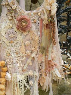 Tunic, Gypsy Spirit, Boho Hot, Fusion, Princess, Fairie. Lose Your Breath Beauty,  Flowers, Lace, Crochet, Ribbons, Vintage Fabric Pieces