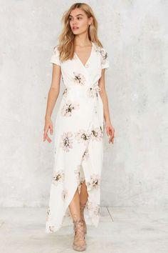 Maureen Maxi Wrap Dress - Clothes | Day | Midi + Maxi | So feminine & light! #NastyGal clothing
