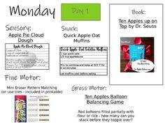 Tot School | APPLES | One Week of Activities | Printables | Recipes | Play Ideas Cloud Dough Recipes, Mini Apple, Apple Seeds, Pattern Matching, Unit Plan, Community Helpers, School Themes, Tot School, One Week