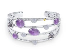 #Tacori #FallBling  -SB156130126-   Spread the cuff Love!! Light and airy this crisp .925 silver cuff covered in Amethysts, White Chalcedony and Rose Amethysts will take her breath away. Worn with other bangles from the Lilac Blossoms collection or on its own, this piece is sure to impress.- Tacori Fall Bling