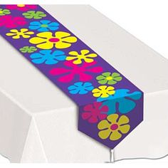 Retro Flowers Table Runner & Theme Party Supplies at Amols' Fiesta Party Disco Party, Disco Theme Parties, Music Themed Parties, Fiesta Theme Party, Party Themes, Party Ideas, Hippie Party, Hippie Birthday, 1960s Party