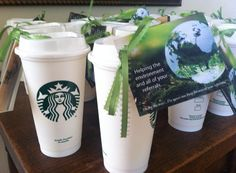 Help your clients go green with these reusable coffee cups from Starbucks! Earth day sales calls