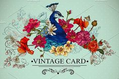 Floral Vintage Card with Peacock.  @creativework247