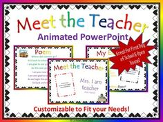 This is a fun way to introduce yourself to your new students the first day of school or to parents at open house. Editable with Animation!